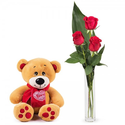 First Love: 3 red roses and a teddy