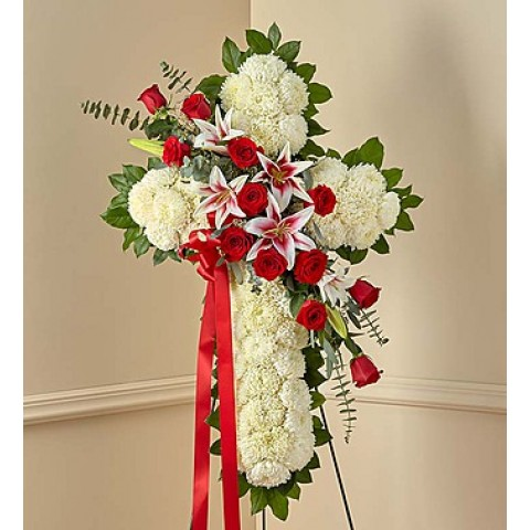 Red Rose Standing Cross