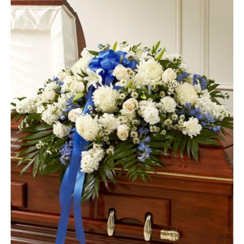 Blue&White Half Casket Cover