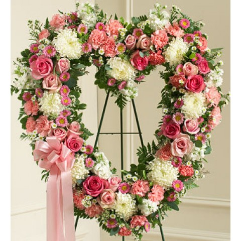 Always Remember Pink Floral Heart