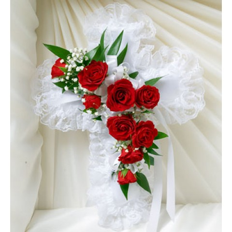 Red & White Satin Cross Pillow